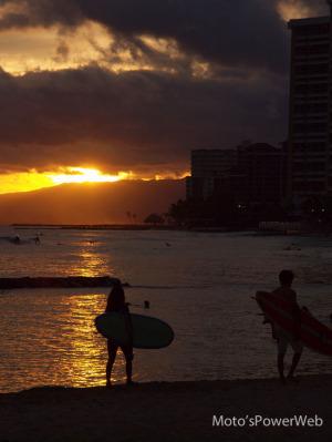ハワイ最終日の夕陽